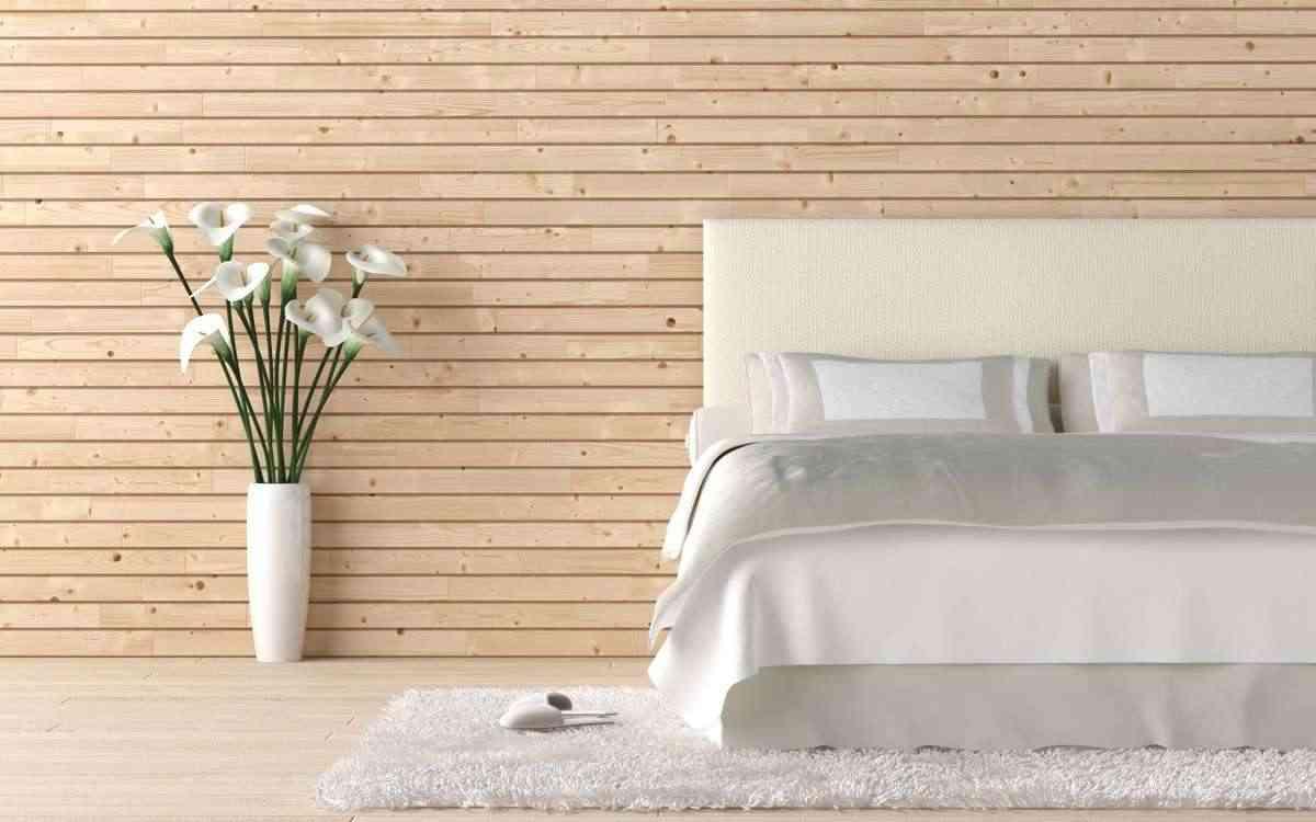 pared de madera en dormitorio