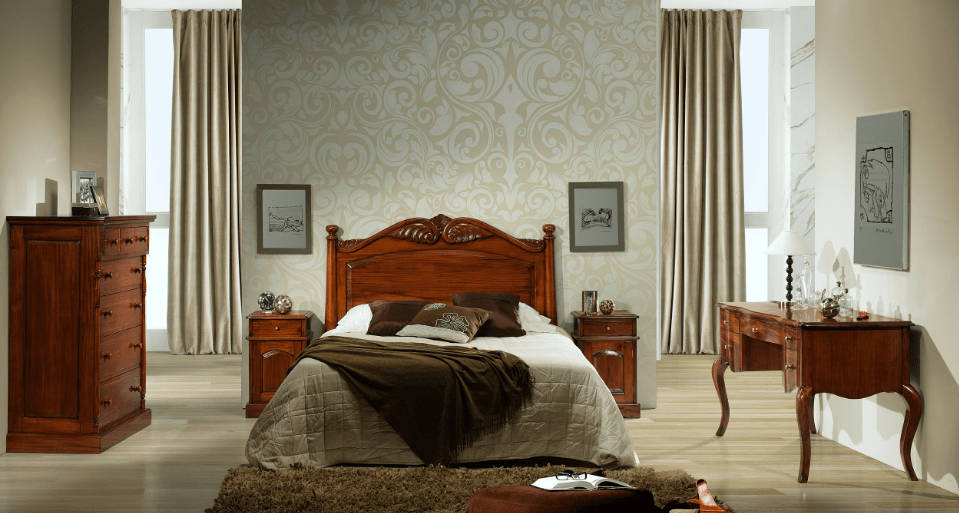 dormitorio de caoba