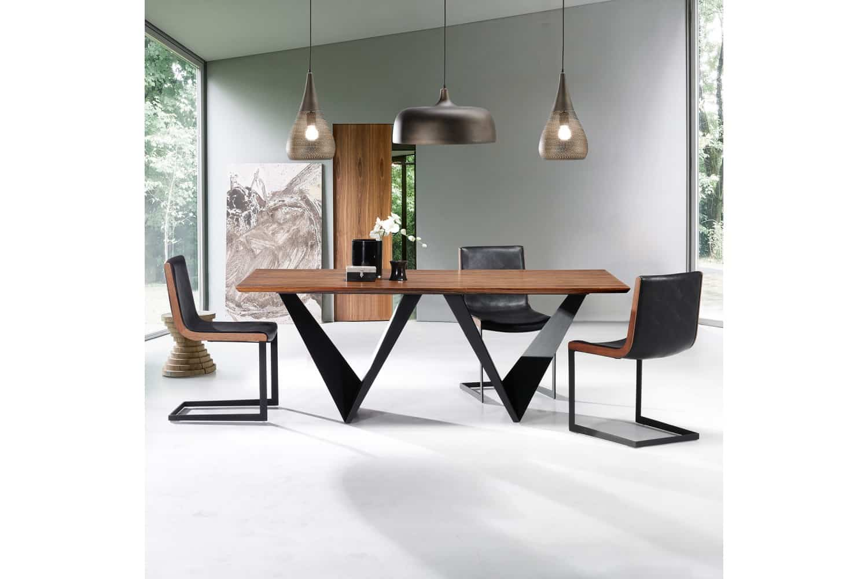 Mesas de comedor de dise o italiano combinadas madera cristal y acero - Mesas de comedor redondas de diseno ...