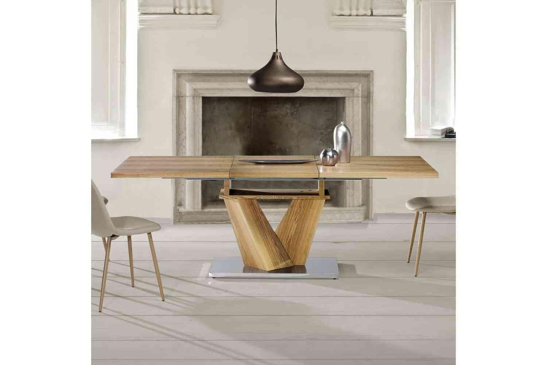 Mesas de comedor de diseño italiano combinadas: madera, cristal y acero