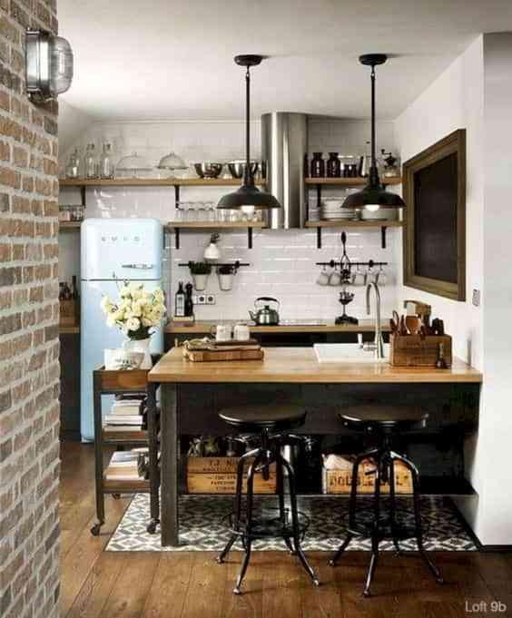 blanco, negro y madera en cocinas