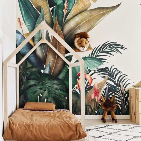 dormitorios infantiles con papel pintado