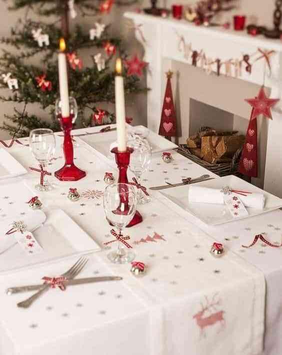 cena navidena en blanco y rojo IX