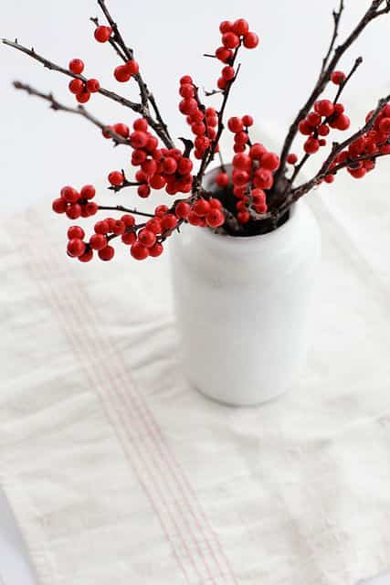 mesa navidena en blanco y rojo VIII