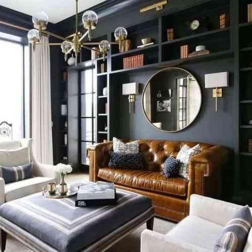combinar un sofa de cuero marron III
