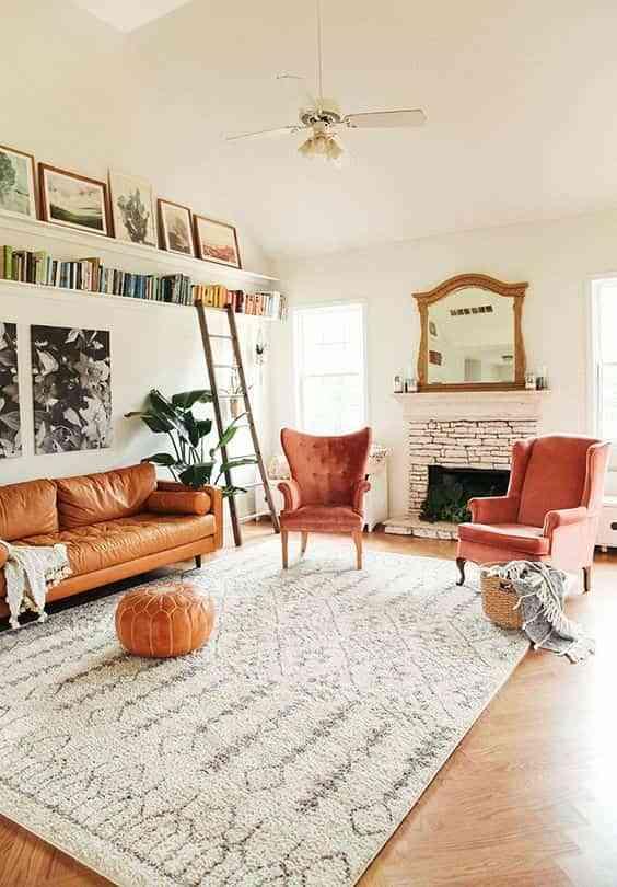 combinar un sofa de cuero marron VI