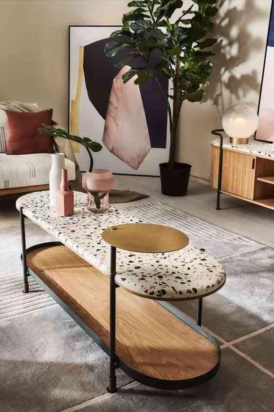 decorar con terrazo mesa de centro