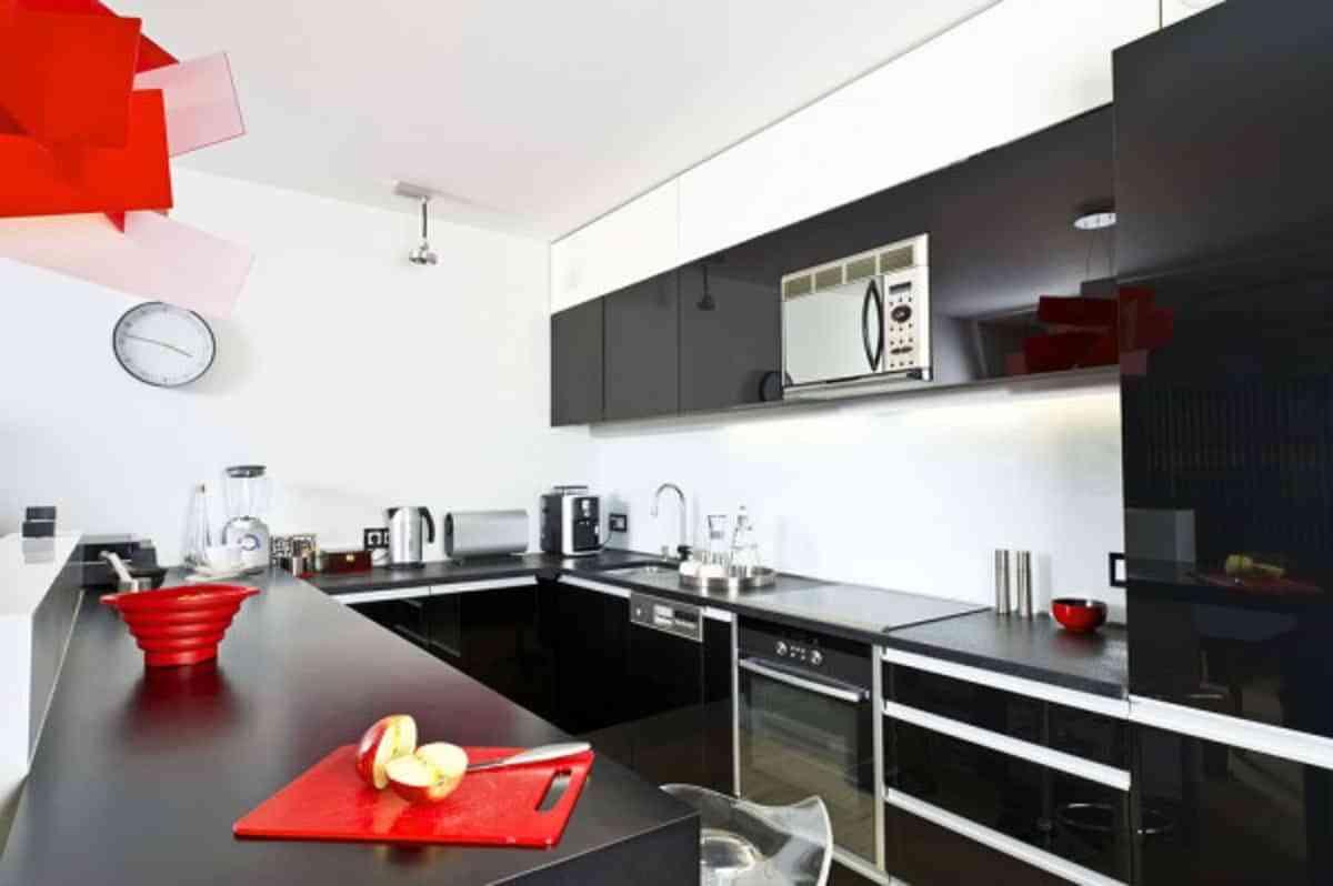 cocina encimera en negro