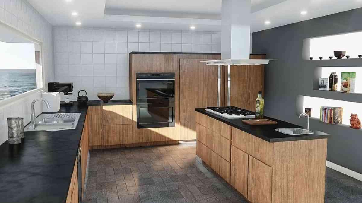cocina tono oscuro con madera