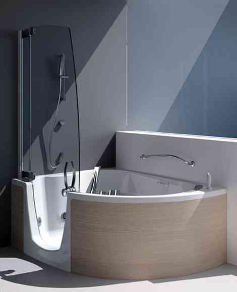 decoraci n de ba os con ba era y ducha. Black Bedroom Furniture Sets. Home Design Ideas
