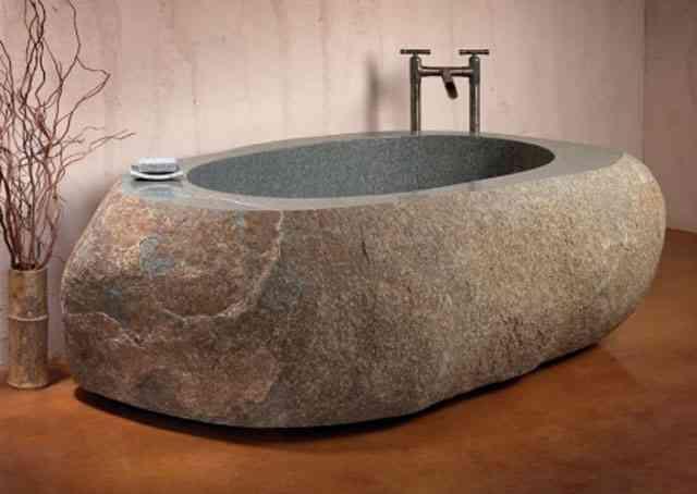 Decoraci n de ba os esculpidos en piedra natural - Banos con piedra natural ...