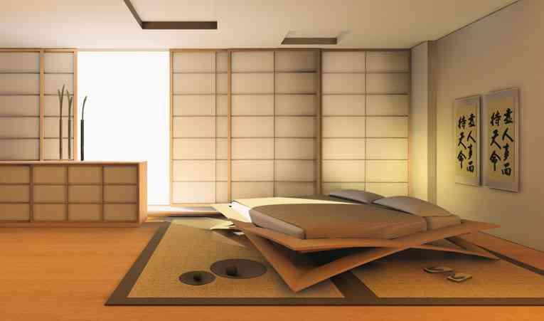 Decoraci n de dormitorios con cama oriental minimalista - Ideas para hacer cabeceros de cama ...
